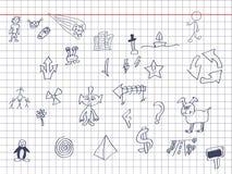 Desenhos em uma nota Fotografia de Stock Royalty Free