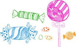 Desenhos esboçado dos doces Foto de Stock