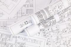 Desenhos impressos de circuitos bondes Ciência, tecnologia e eletrônica imagens de stock royalty free