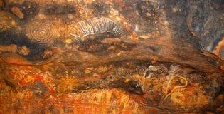 Desenhos jeroglíficos aborígenes Fotografia de Stock Royalty Free