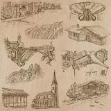 Desenhos a mão livre da arquitetura e dos lugares em todo o mundo - Imagem de Stock