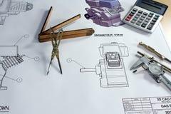 Desenhos mecânicos Foto de Stock