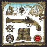 Desenhos a mão livre temáticos dos piratas ajustados Fotografia de Stock Royalty Free