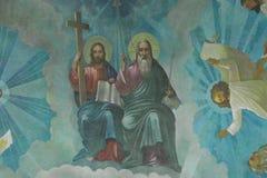 Desenhos na igreja Católica grega Fotografia de Stock