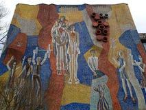 Desenhos nas paredes da URSS mosaico da parede da Soviete-era foto de stock royalty free