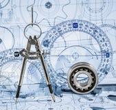 Desenhos técnicos com o rolamento Foto de Stock