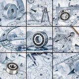 Desenhos técnicos com o rolamento Imagem de Stock Royalty Free