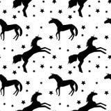 Deseniowa czarna jednorożec i gwiazdy na białym tle ilustracja wektor