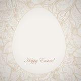 Deseniowa elegancka Easter rama z jajkiem i królikiem. Zdjęcia Stock