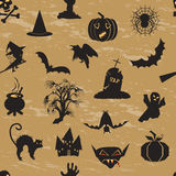 Deseniowa Halloweenowa czaszka, bania, duch, nietoperz i wampir, ilustracji
