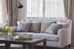 Deseniowe poduszki ustawia na beżowej kanapie w żywym pokoju Obrazy Stock