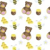 Deseniowej bezszwowej niedźwiadkowej pszczoły miodowej akwareli projekta majcherów ilustracyjne cyfrowe papierowe scrapbooking ka ilustracji