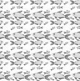 Deseniowej ryby pasiasty czerń różny ilustracja wektor