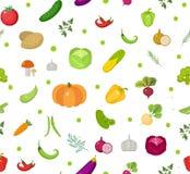 deseniowi bezszwowi warzywa Sałatkowy niekończący się tło Zdrowy styl życia, weganin, jarska dieta, surowy jedzenie wektor Zdjęcia Stock