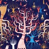Deseniowi piękni magiczni drzewa royalty ilustracja