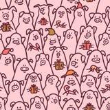deseniowy świniowaty bezszwowy Śmieszne świnie z cukierek trzcinami, prezentami i Santa kapeluszami, 2019 Chińskich nowy rok symb royalty ilustracja