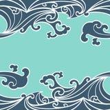 Deseniowy Bezszwowy ocean fala ręki remisu azjata styl ilustracja wektor