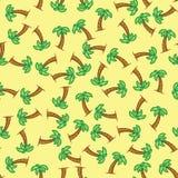 Deseniowy drzewko palmowe na żółtym tle Bezszwowy deseniowy drzewko palmowe Obraz Stock
