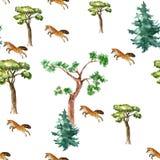 Deseniowy Fox i drzewo Zdjęcie Royalty Free