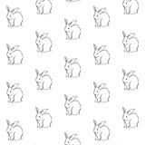 Deseniowy prosty biały królik Fotografia Stock