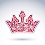 Deseniująca cesarska korona odizolowywająca na białym tle Obrazy Royalty Free