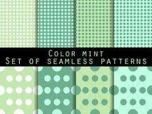 deseniuje bezszwowego set Kolor mennica Wzór dla tapety, łóżkowa pościel, płytki, tkaniny, tła Zdjęcie Royalty Free