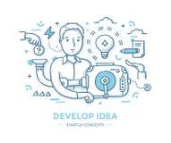 Desenvolva a ideia Startup ilustração stock