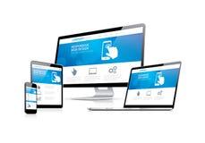 Desenvolvimento da codificação do Web site com o DES responsivo da Web Foto de Stock