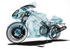 Desenvolvimento da motocicleta em software de computadores ilustração royalty free
