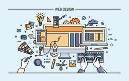 Desenvolvimento da Web, linha bandeira da arte local com projeto responsivo Ilustração lisa colorida do vetor ilustração do vetor