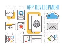 Desenvolvimento de aplicações Apps móveis Imagem de Stock