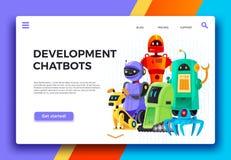 Desenvolvimento de Chatbots Assistente do chatbot de Digitas, robôs amigáveis e vetor dos desenhos animados da página da aterr ilustração royalty free