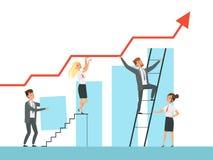 Desenvolvimento de equipas Crescimento dos diretores empresariais acima das escadas a seus caráteres do conceito do vetor do líde ilustração do vetor