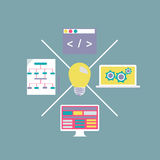 Desenvolvimento de tecnologia moderno do Internet do projeto liso Foto de Stock Royalty Free