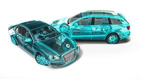Desenvolvimento do carro em software de computadores ilustração royalty free