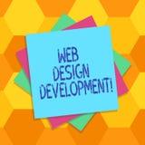Desenvolvimento do design web do texto da escrita Web site tornando-se do significado do conceito para hospedar através da camada ilustração royalty free