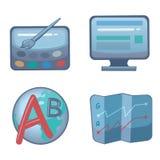 Desenvolvimento e otimização da Web dos ícones imagens de stock