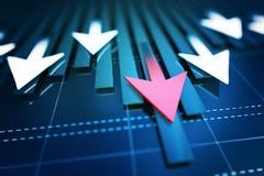 Desenvolvimento econômico da seta imagem de stock