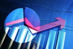 Desenvolvimento econômico e seta ilustração stock