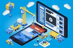 Desenvolvimento móvel do App, equipe experiente 3d liso isométrico Imagens de Stock