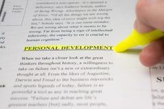 Desenvolvimento pessoal destacado em um texto do negócio Fotos de Stock