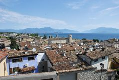 Desenzano del Garda, view of tiled roofs, antennas royalty free stock images