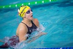 DESENZANO GARDA  (ITALY) - MARCH 1:    Giulia Rosa( Italy)  perf. Orming  200 mt breaststroke in Italian  Swimming Meeting  on March  1, 2015  in Desenzano Garda Stock Images
