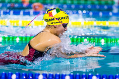 DESENZANO GARDA (ITALY) - MARCH 1: Ilaria Rosa ( Italy) pe. Rforming 200 mt breaststroke in Italian Swimming Meeting on March 1, 2015 in Desenzano Garda ( Italy royalty free stock photos