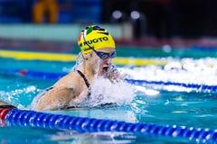 DESENZANO GARDA  (ITALY) - MARCH 1:    Ilaria Rosa  ( Italy)  pe. Rforming  200 mt breaststroke in Italian  Swimming Meeting  on March  1, 2015  in Desenzano Royalty Free Stock Image