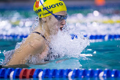 DESENZANO GARDA  (ITALY) - MARCH 1:    Ilaria Rosa  ( Italy)  pe. Rforming  200 mt breaststroke in Italian  Swimming Meeting  on March  1, 2015  in Desenzano Stock Images