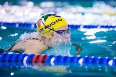 DESENZANO GARDA  (ITALY) - MARCH 1:    Ilaria Rosa  ( Italy)  pe. Rforming  200 mt breaststroke in Italian  Swimming Meeting  on March  1, 2015  in Desenzano Royalty Free Stock Photos