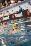 DESENZANO GARDA (ITALY) - MARCH 1: Ilaria Rosa ( Italy) pe. Rforming 200 mt breaststroke in Italian Swimming Meeting on March 1, 2015 in Desenzano Garda ( Italy stock photography