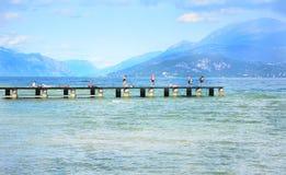 Desenzano garda lake pontoon. Desenzano del Garda town Italy lake and boats landscape Stock Photo
