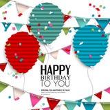 Deseo del cumpleaños con las banderas y los globos del empavesado adentro Imágenes de archivo libres de regalías